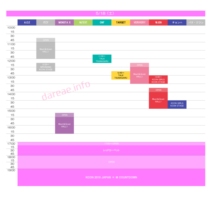 「KCON 2019 JAPAN × M COUNTDOWN」出演者タイムテーブル